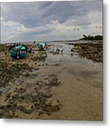 Beached Blue Boats Metal Print