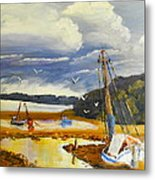 Beached Boat And Fishing Boat At Gippsland Lake Metal Print