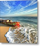 Beached Boat Morning - Outer Banks Metal Print