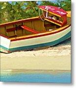 Beached Fishing Boat Of The Caribbean Metal Print