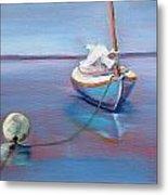 Beached Sailboat At Mooring Metal Print