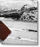 Beachside Warning Horizontal Bw With Colorized Red Sign Metal Print