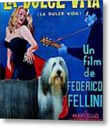 Bearded Collie Art Canvas Print - La Dolce Vita Movie Poster Metal Print