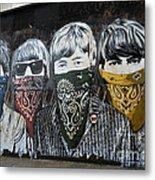 The Beatles wearing face masks street mural Metal Print