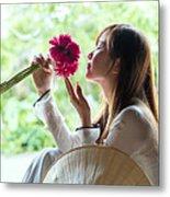 Beautiful Asian Woman With Flowers - Vietnam Metal Print