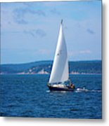 Beautiful Boat Sailing At Puget Sound Metal Print