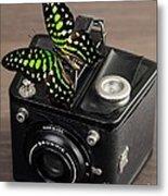 Beautiful Butterfly On A Kodak Brownie Camera Metal Print
