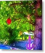 Beautiful Colored Glass Ball Hanging On Tree 1 Metal Print