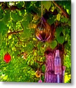Beautiful Colored Glass Ball Hanging On Tree 2 Metal Print