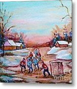 Beautiful Day For Pond Hockey Winter Landscape Painting  Metal Print