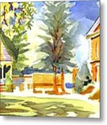 Beautiful Day On The Courthouse Square Metal Print