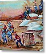 Beautiful Day-pond Hockey-hockey Game-canadian Landscape-winter Scenes-carole Spandau Metal Print