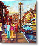 Beautiful  Downtown City Stroll  Cafe Paintings Montreal Restaurants On Crescent Street C Spandau Metal Print