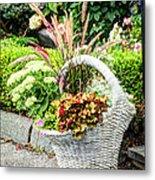 Beautiful Flowers In Basket Metal Print