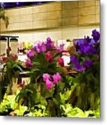 Beautiful Flowers Inside The Changi Airport Metal Print