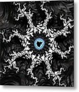 Beautiful Fractal Artwork Black White And Blue Metal Print
