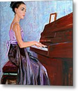 Beautiful Girl Playing Piano Metal Print