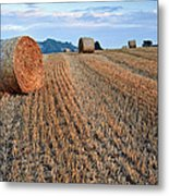 Beautiful Golden Hour Hay Bales Sunset Landscape Metal Print