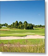 Beautiful Green Golf Course And Blue Sky Metal Print