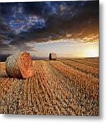 Beautiful Hay Bales Sunset Landscape Digital Painting Metal Print