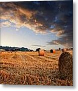 Beautiful Hay Bales Sunset Landscape Digital Paitning Metal Print