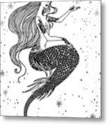 Beautiful Mermaid With Star In Her Metal Print