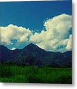 Beautiful Mountain White Could.. Blue Sky Metal Print