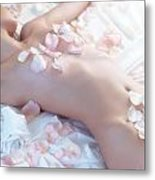 Beautiful Nude Woman Lying In Bed With Pink Rose Petals On Her B Metal Print