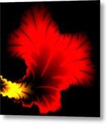 Beautiful Red And Yellow Floral Fractal Artwork Square Format Metal Print