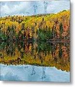 Beautiful Reflections Of A Autumn Forest In A Lake Metal Print