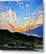 Beautiful Sky Over The Harbour Digital Painting Metal Print