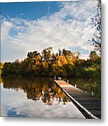 Beautiful Sunset Over Autumn Fall Lake With Crystal Clear Reflec Metal Print