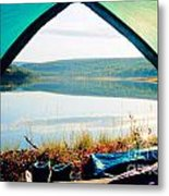 Beautiful View Of Calm Lake Looking Out Of Tent Metal Print
