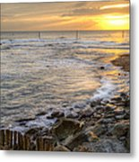 Beautiful Warm Vibrant Sunrise Over Ocean With Cliffs And Rocks Metal Print
