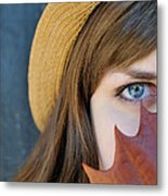 Young Woman And Leaf Metal Print