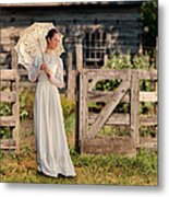 Beautiful Woman In White Dress With Parasol Metal Print