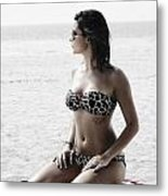 Beautiful Woman On The Beach Metal Print by Jelena Jovanovic
