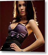 Beautiful Woman Posing In Studio Metal Print