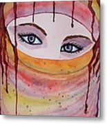 Beautiful Woman With Niqab Watercolor Painting Metal Print