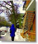 Beautiful Yellow Staircase Verdun Snow Scene Montreal Art Colors Of Quebec Carole Spandau Metal Print