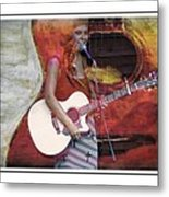 Beauty And Her Guitar Metal Print