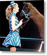 Beauty And Her Llama Metal Print