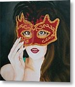 Beauty And The Mask Metal Print