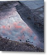 Beauty Is Everywhere - Sky Reflected In Puddle Of Water Metal Print