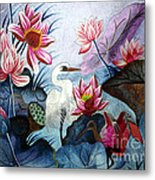 Beauty Of The Lake Hand Embroidery Metal Print