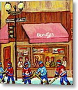 Beauty's Restaurant Paintings Of Plateau Montreal Winter Scenes Hockey Art Carole Spandau  Metal Print