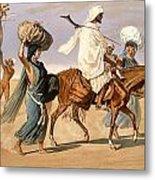 Bedouin Family Travels Across The Desert Metal Print