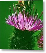 Bee In A Green Ambiance Metal Print