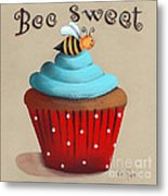 Bee Sweet Cupcake Metal Print by Catherine Holman