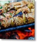 Beef Kababs On The Grill Closeup Metal Print